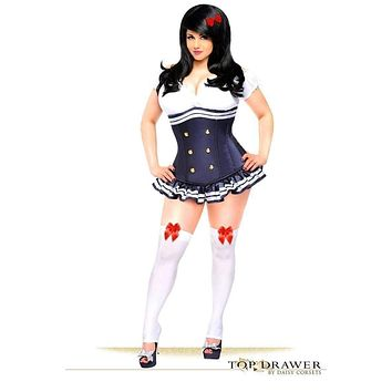 Daisy Top Drawer 3 PC Pin-Up Officer Corset Costume