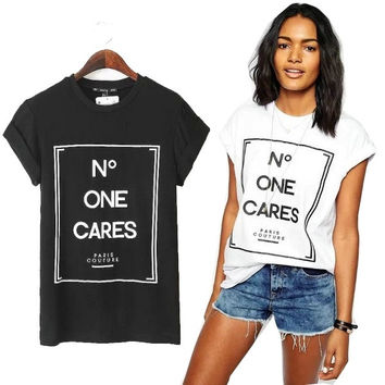 2015 Summer Fashion Ladies Loose Cotton T-shirt Short Sleeve Casual Tops Blouse Letters Printed White Black S M L = 1956823236