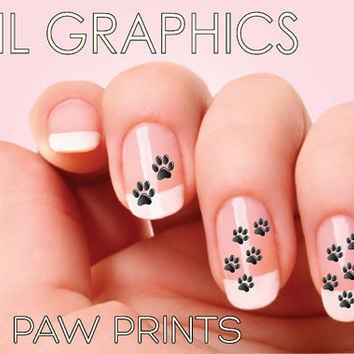 30 PAW PRINTS  Nail Art Nail decal  Water slide Nail Design dog prints