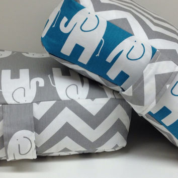 "Set of 2 - Elephant Grey and White Chevron Floor Cushion Pillows 30""X30""x4"" ~ SUPER SIZE (Filling Included)"