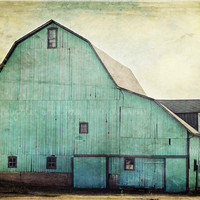 Aqua Barn 8x12 Fine Art Photography Farm Country Shabby Chic Mint Green Blue Rustic Vintage Home Decor Wall Art