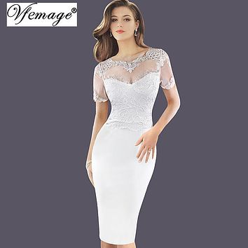Vfemage Womens Embroidered See Through Mesh Lace Party Evening Special Occasion Bridesmaid Mother of Bride Embroidery Dress 3092