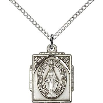 925 Sterling Silver Our Lady Grace Miraculous Virgin Mary Medal Necklace Pendant 617759013627
