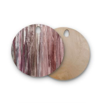 """Ebi Emporium """"Waterfall Blur, Blush Rust"""" Pink Maroon Abstract Stripes Painting Mixed Media Round Wooden Cutting Board"""