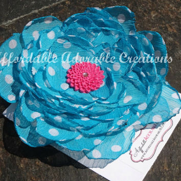 Oversized Blue & White Polka Dot Chiffon Fabric Hair Flower or Brooch Pin with Hot Pink Accent Flower