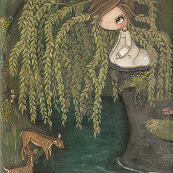 Weeping Willow Print Tree Deer Flower Spring Girl Pond Nature Art Wall Decor