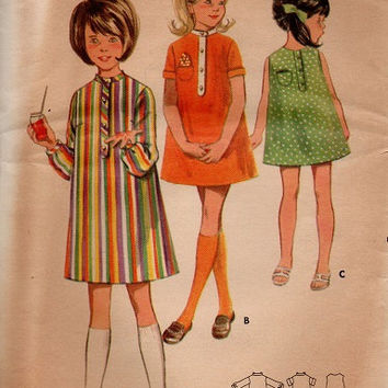 Retro Mod Style Girls Dress Simple A-line Pullover Butterick 60s Sewing Pattern Long Short or Sleeveless Uncut FF Size 6