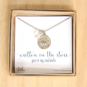 Best Friend, Soulmate, Aries Zodiac Sign Necklace -  Aries Necklace, Clear Crystal, April Birthday Gift, Aries Gift