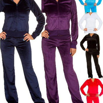SeXY WoMeNS Jr. Velour Tracksuit Sweatsuit Sweatpants Hoodie Jacket Top Pants M