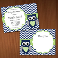 Owl Baby Shower Invitation Boy Baby Shower invitations Printable Baby Shower Invites -FREE Thank You Card - editable pdf Download (551) blue