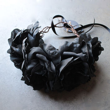 Rock 'N Rose - Ophelia Handmade Flower Crown - black