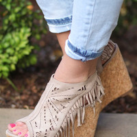 Suede Fringe Delight Wedge (Taupe)