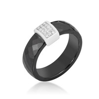 Black Ceramic Cocktail Ring, size : 06