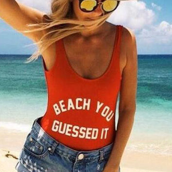 Fashion Letter Print Beach One Piece Swimsuit Swimwear