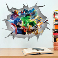 Avengers 3D Through Wall Stickers Lego Superheroes Home Decoration Wall Decals Art for Kids Room Baby Breaking WallPaper Posters
