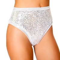 Roma Dance Wear USA High Waisted Shorts White Silver