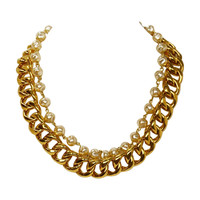 Chanel Vintage Goldtone Chain Link & Small Pearl Choker Necklace