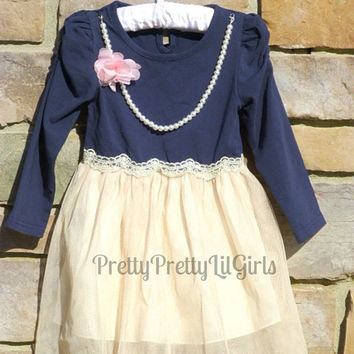 Girls Navy Dress, Girls Fall Dress, Toddler Girls Dress, Girls Holiday Dress, Lace Girls Dress, Princess Dress, Girls Christmas Dress,