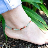 Aventurine and Carnelian Anklet