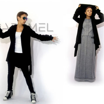 Woman's Hooded Coat/Women's Clothing/Casual Top/Jacket/Asymmetric Coat/Extravagant Top by CARAMEL fs - T-6015