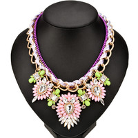 Chunky Chain Floral Statement Necklace
