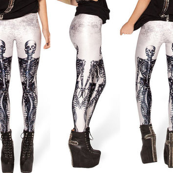 2016 New Popular Skull BLOOD CTHUL HU MIDDLE EARTH MAP CORPSE BRIDE N7 MECHANICAL MERMAID WHITE  HELL YEAH LEGGINGS For Women