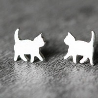 Walking Cat Earrings, Sterling Silver Cat Stud Earrings, kitty Earrings, kitten Earrings, Cat Studs,Cat Jewelry,gifts for her cat lover gift