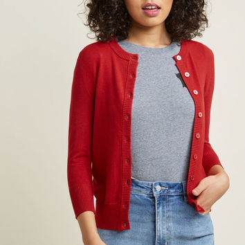 Charter School Crew Neck Cardigan in Ombre Buttons