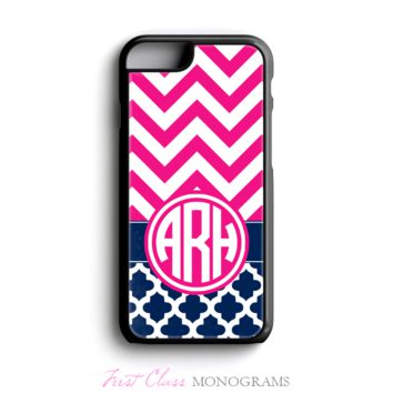 Pink & Navy Chevron Tile Monogram Phone Case – SALE!