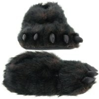 "Wishpets 15"" Furry Black Plush Slippers"