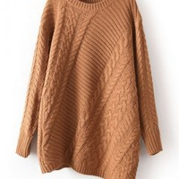 Irregular Hem Twist Knit Pullover