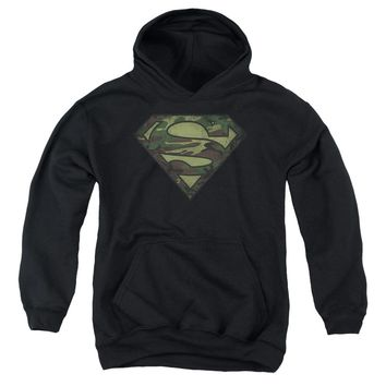 Superman - Camo Logo Distressed Youth Pull Over Hoodie