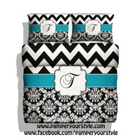 Chevron and Damask Turquoise Personalized Duvet - Monogrammed Bedding - Black and White Chevron - ANY colors are available Just Message Me