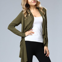Long Sleeve Solid Cardigan - NOVASHE.com