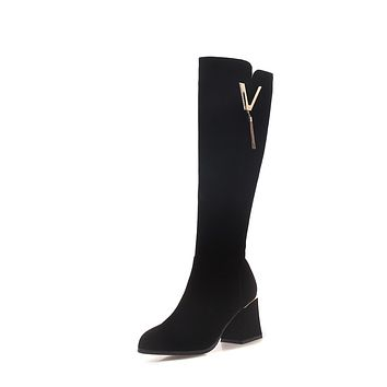 Black Suede Tall Boots Winter Shoes for Woman 3774