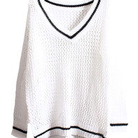 Hollow-out Deep-V-neck Loose White Jumper