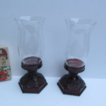 Pr Ruby Glass Hurricane Candles Avon Cape Cod Ruby Glass Lamps 1876 Avon Candle Stick Holders Red Hurricane Lamps Ruby Glass Lamps Red Glass