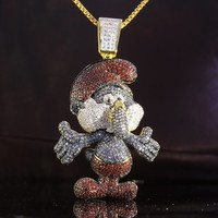 Iced Out Papa Smurf Cartoon Character Pendant Free Chain