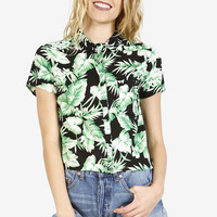 Tropical Trip Boxy Blouse - Black