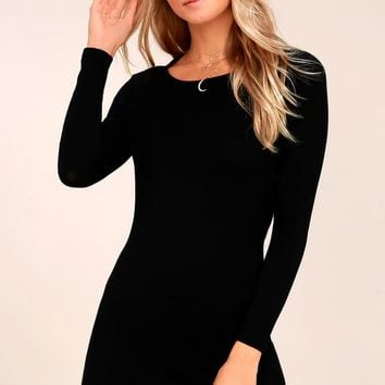 Kiss and Tell Black Long Sleeve Backless Dress