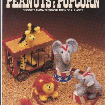Peanuts & Popcorn pattern booklet crochet animals for children of all ages giraffe lion elephant using 3 ply DK weight yarn