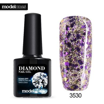 Modelones 10ML Purple Color Glitter Gel Polish UV Nail Gel Varnish 3D Nail Art Sparkles Nail Gel Polish Soak Off Nail Varnish