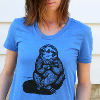 $20.00 Sloth Playing the Ukulele Hand Drawn Design on by TypsyGypsyTees