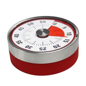 High Quality Mechanical Magnetic Kitchen Diet Timer Cooking Alarm Clock Baking Reminder Stainless Steel Countdown Round Red