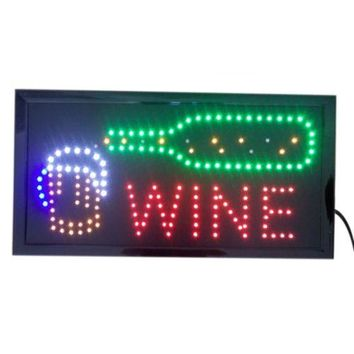 Wine Neon Lights LED Animated Customers Attractive Sign 110V