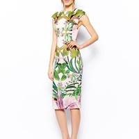 Ted Baker Safiya Midi Dress in Jungle Orchid Neoprene