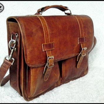 Large Geunine Leather Briefcase / Backpack Laptop by DiazBags