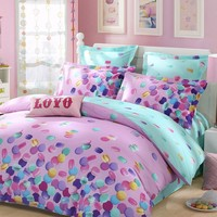 LOVO Sweet Macarons 100% Cotton 300TC Percale 4pcs Bedding Set Duvet Cover,Flat Sheet and 2 Pillowcases Queen