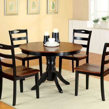Furniture of america CM3027RT 5 pc. johnstown contemporary style design round antique oak and black finish wood dining table set