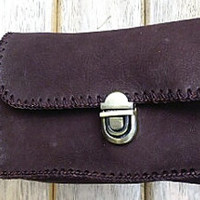 brown 3 pocket pouch waist bag leather mans